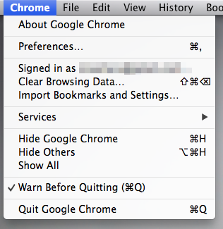 Chrome Menu
